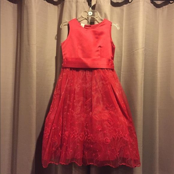 red fancy girl dress wedding formal christmas